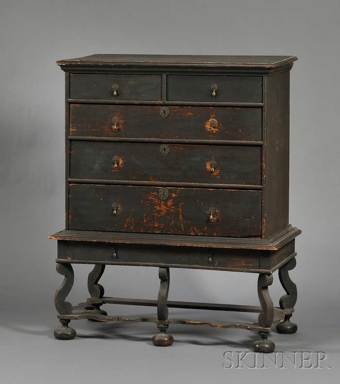 Rare Painted Pine and Maple Chest on Frame