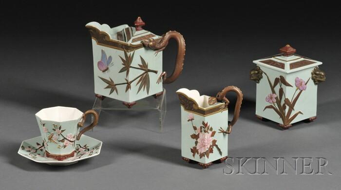 Six-piece Royal Worcester Aesthetic Movement Porcelain Tea Set