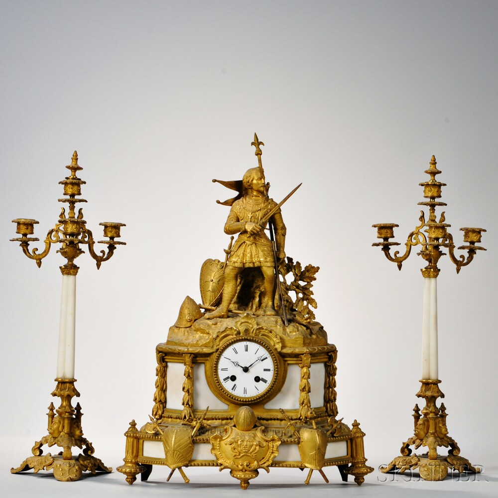 Gilt and Marble Figural Mantel Clock