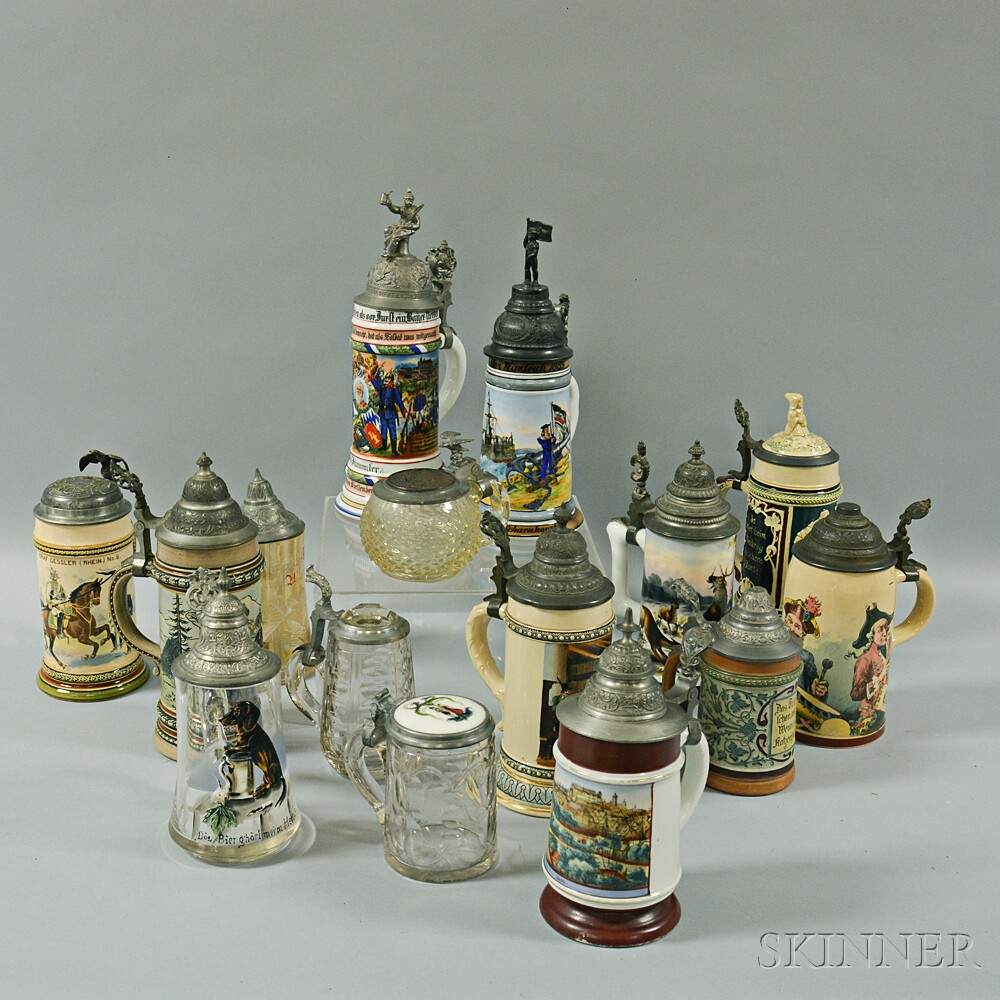 Fifteen Stoneware, Ceramic, and Glass Steins