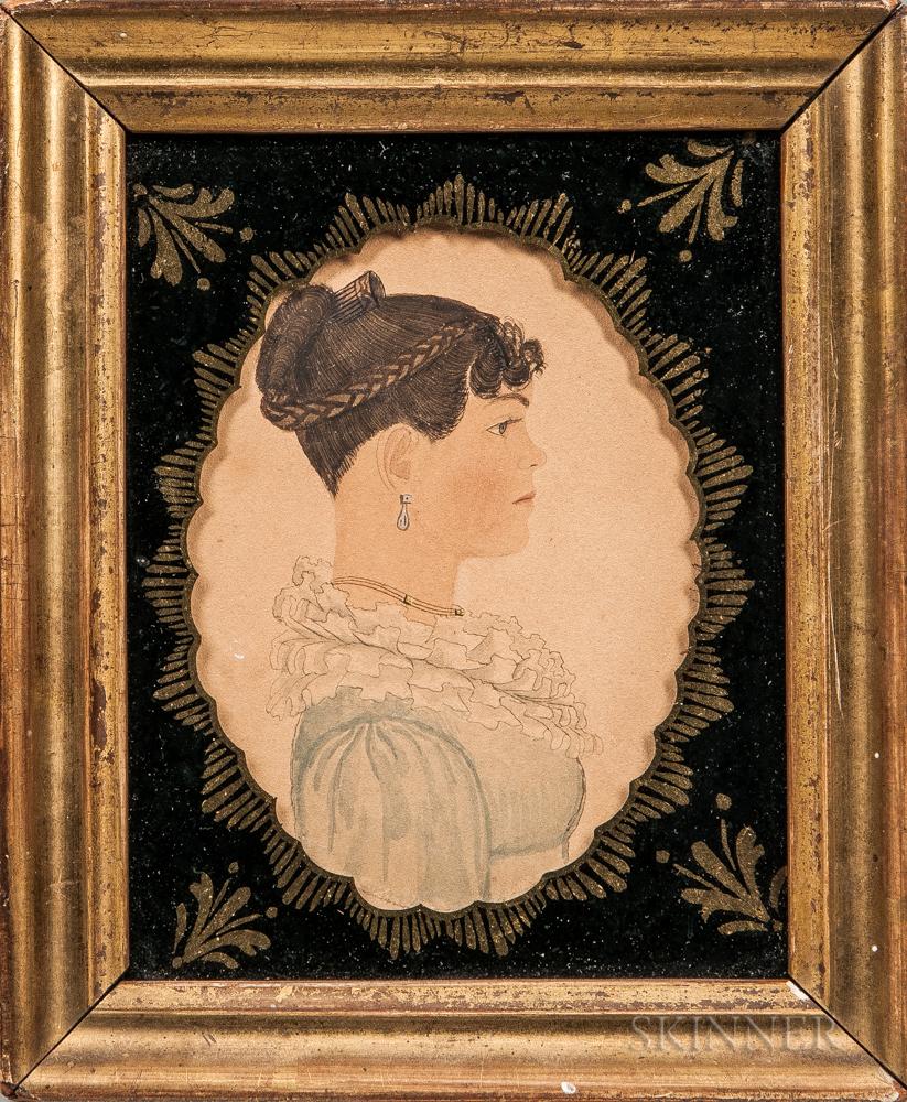 Rufus Porter (Connecticut/Massachusetts, 1792-1884)      Profile Portrait of a Young Woman in a Blue Dress