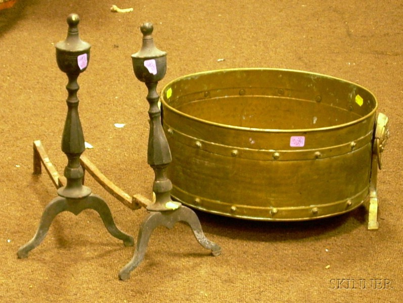 Pair of Brass Urn-top Andirons and a Brass Footed Tray.
