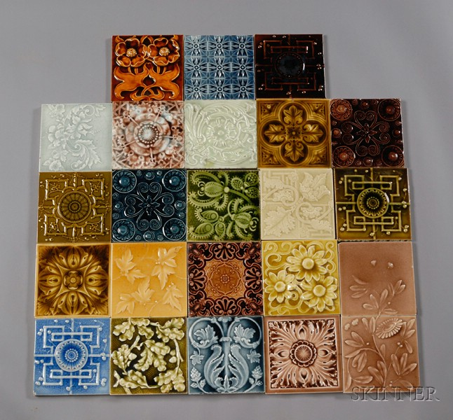 Twenty-three Decorated Tiles: Various Makers