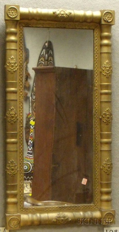 Gold-painted Classical Wood and Gesso Split-baluster Mirror