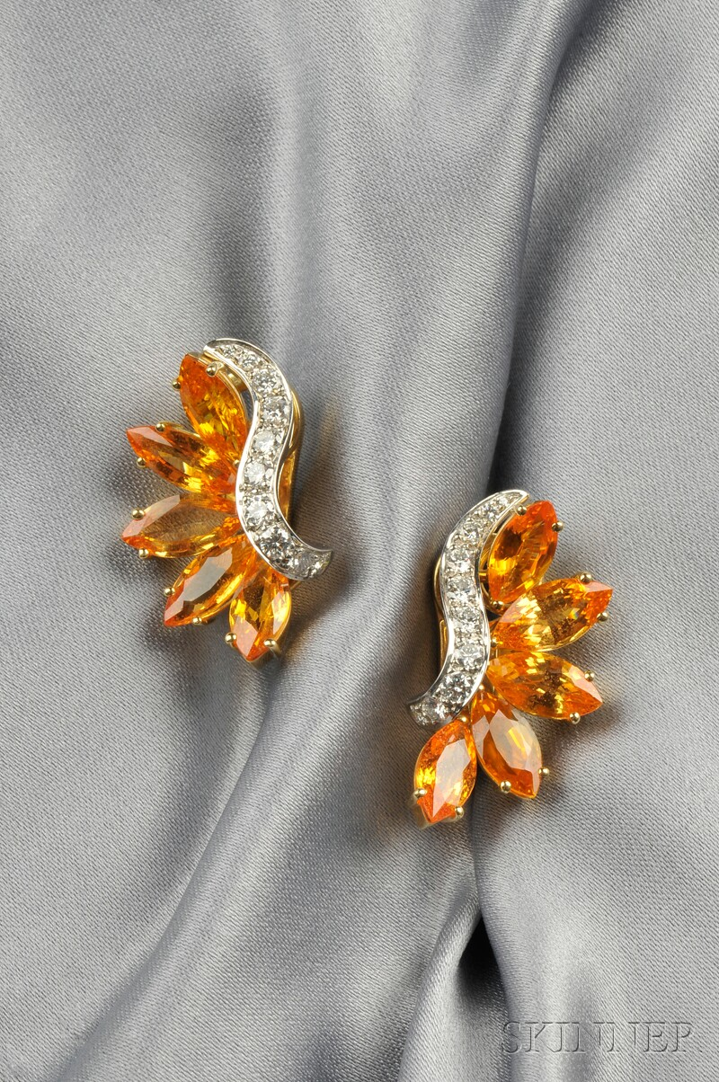 Platinum, 18kt Gold, Yellow Sapphire, and Diamond Earclips, Aletto Bros.