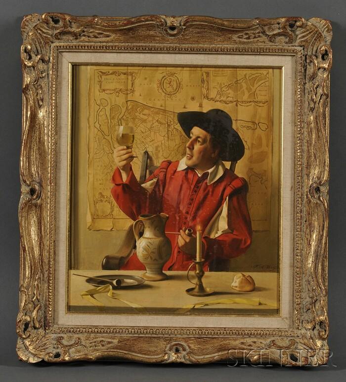 Franz Xaver Wolf (Austrian, 1896-1990)      Dutch Man in Red with a Wine Glass