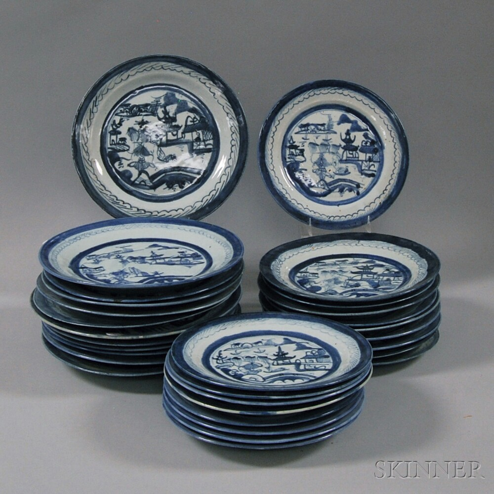 Thirty Canton Porcelain Plates