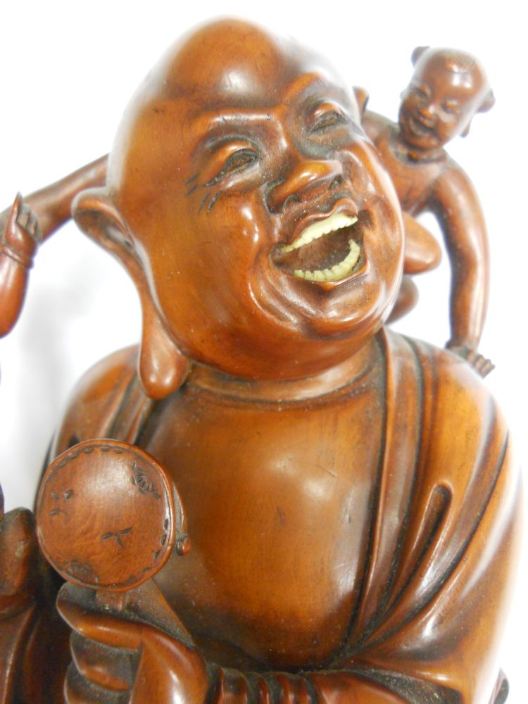 Boxwood carving of budai sale number b lot