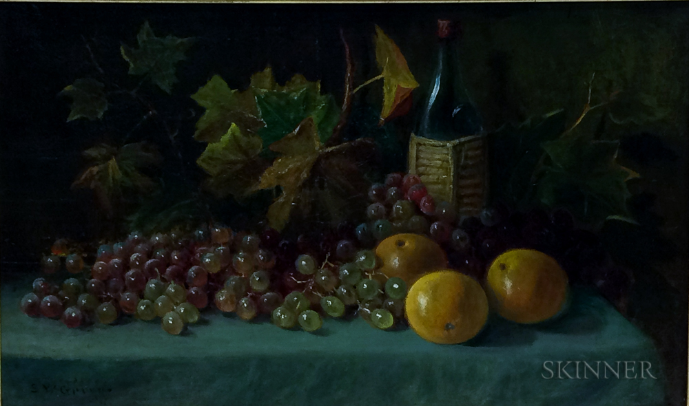 Samuel W. Griggs (American, 1827-1898)      Still Life with Grapes, Oranges, and Bottle of Wine