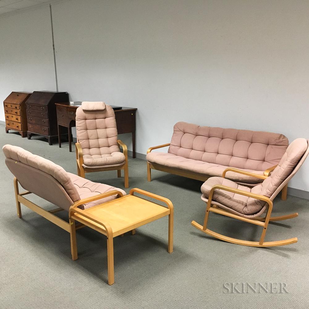 Five Pieces of Kline Design Upholstered Maple Furniture
