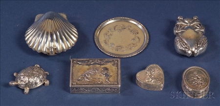 Five Small Silver Boxes and a Miniature Georg Jensen Plate