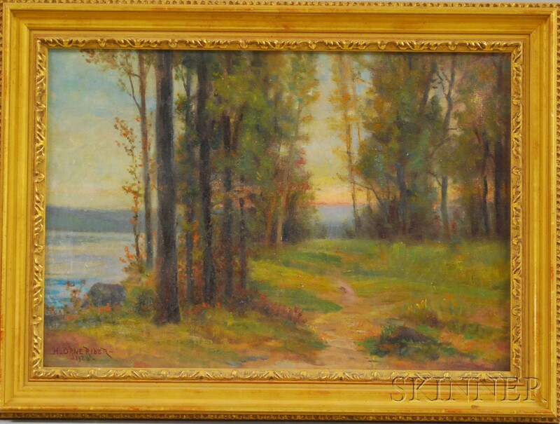 Henry Orne Rider (American, 1860-1943)      The First Tints of Sunset/Banks of the Charles River at Auburndale, Mass