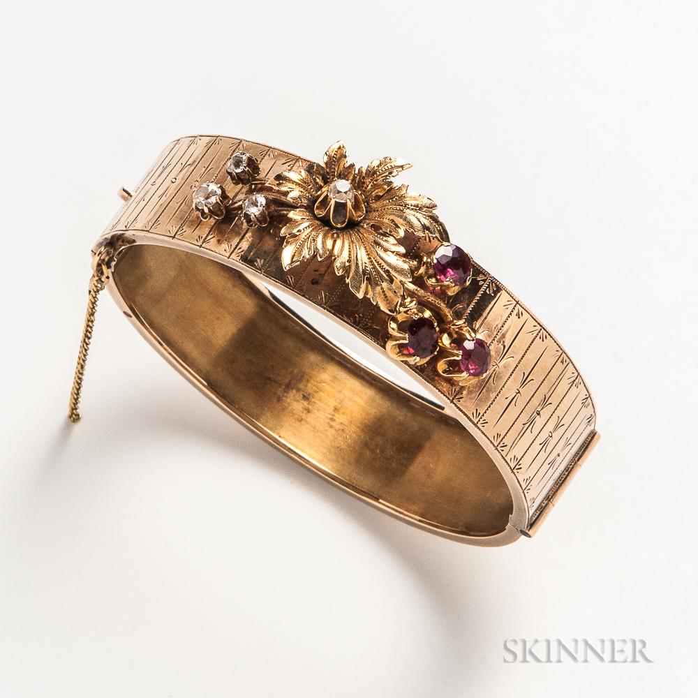 14kt Gold, Diamond, and Garnet Hinged Bangle