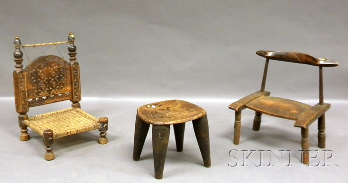 Two African Wooden Chairs and a Stool