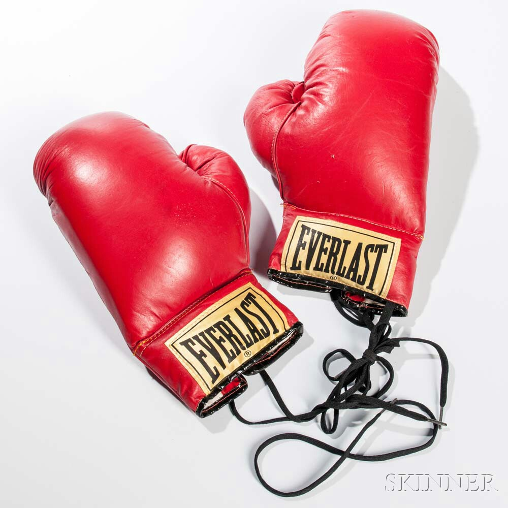 Pair of Vintage Red Vinyl 12-ounce Boxing Gloves