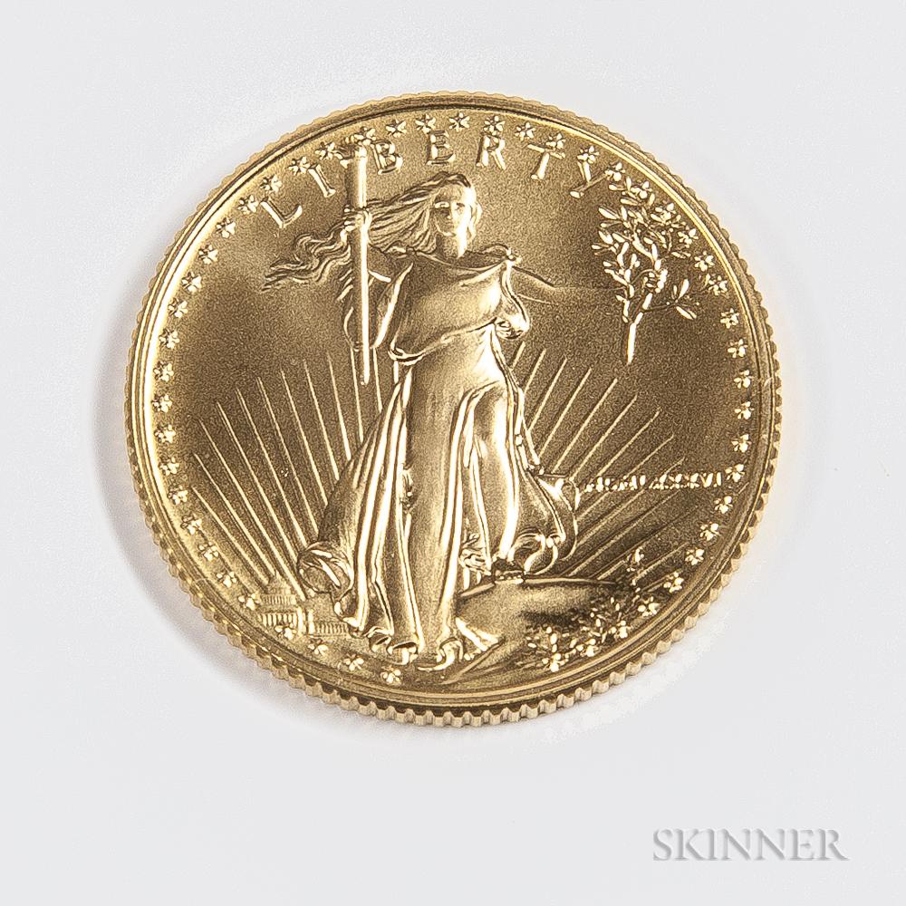 1986 $10 American Gold Eagle.     Estimate $200-400