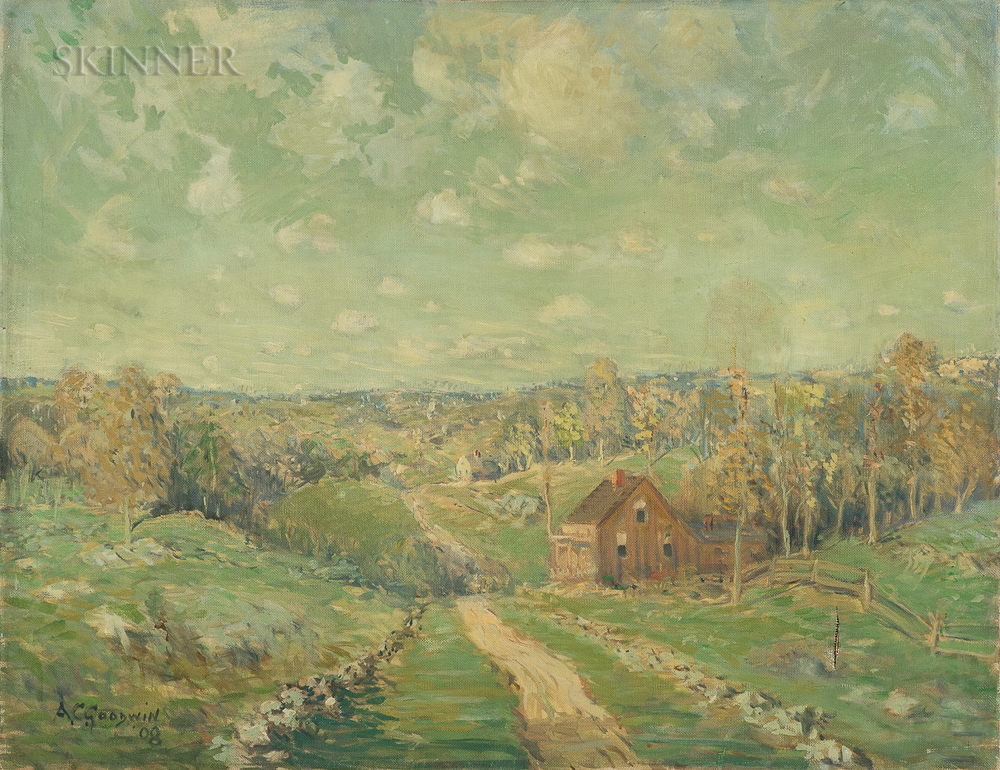 Arthur Clifton Goodwin (American, 1866-1929)      New England Landscape with Rolling Hills and Farmhouses
