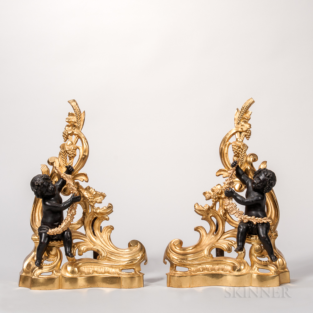 Pair of Patinated- and Gilt-bronze Chenets