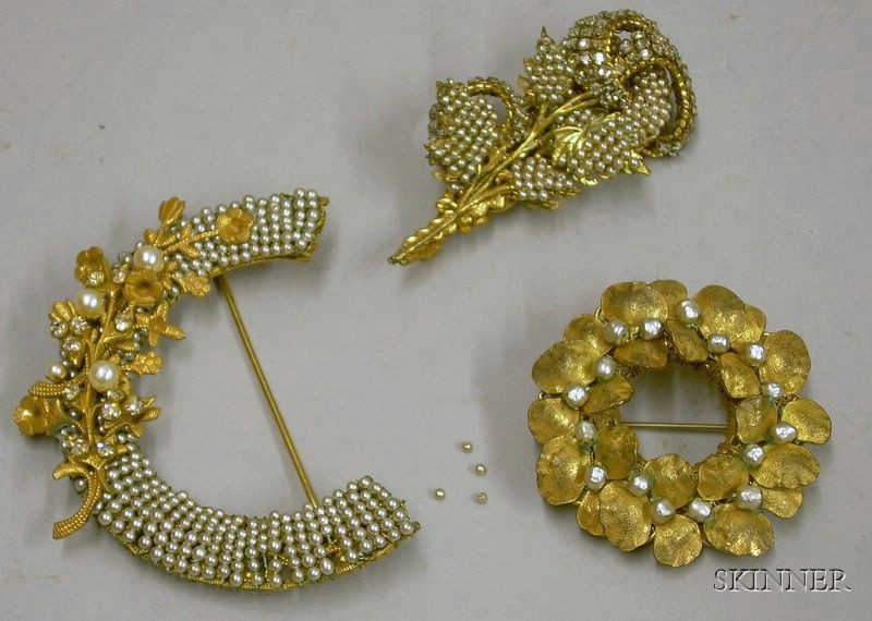 Three Miriam Haskell Pearl and Goldtone Brooches, 1950s