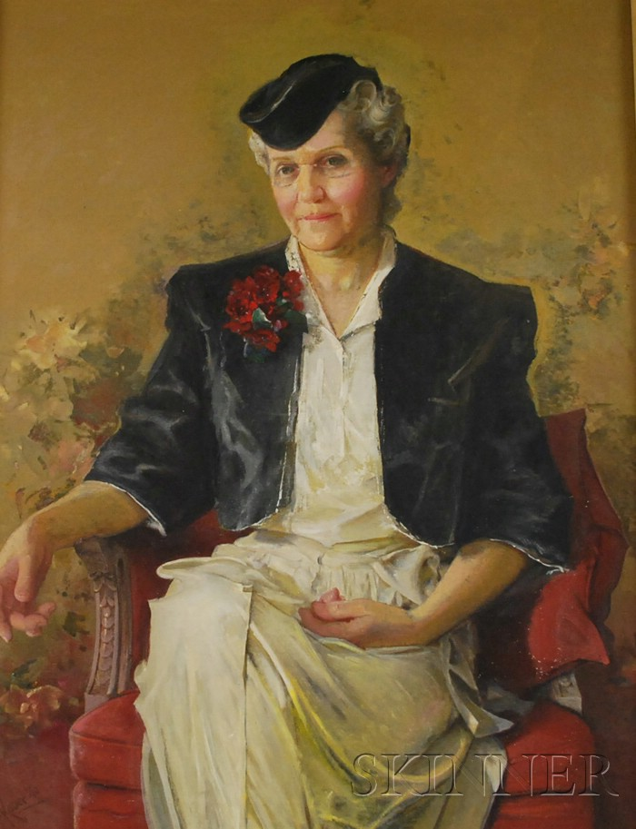 George Frederick Kaber (American, 1860-1951) Lot of Two Works: Portrait of a Woman, Possibly Nellie Robie Kaber, the Artists Wife a...