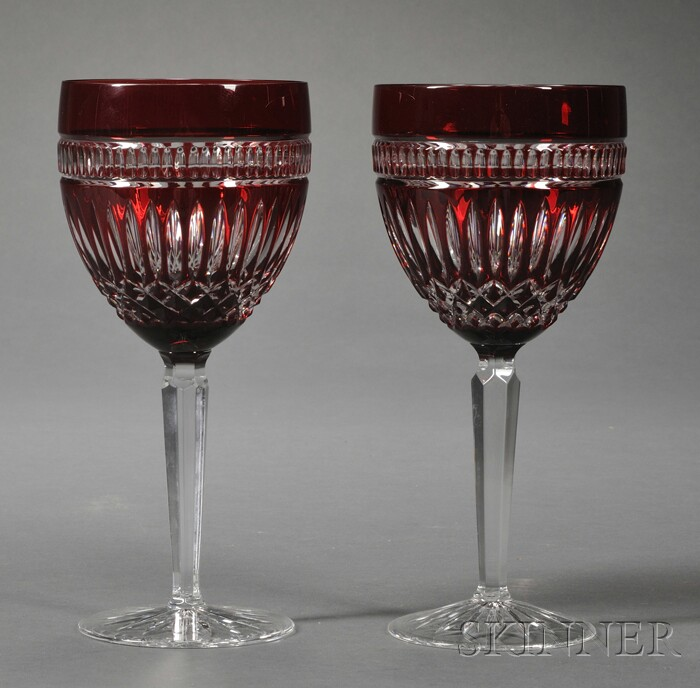 "Eight Waterford Ruby ""Serenity"" Pattern Overlay Goblets"