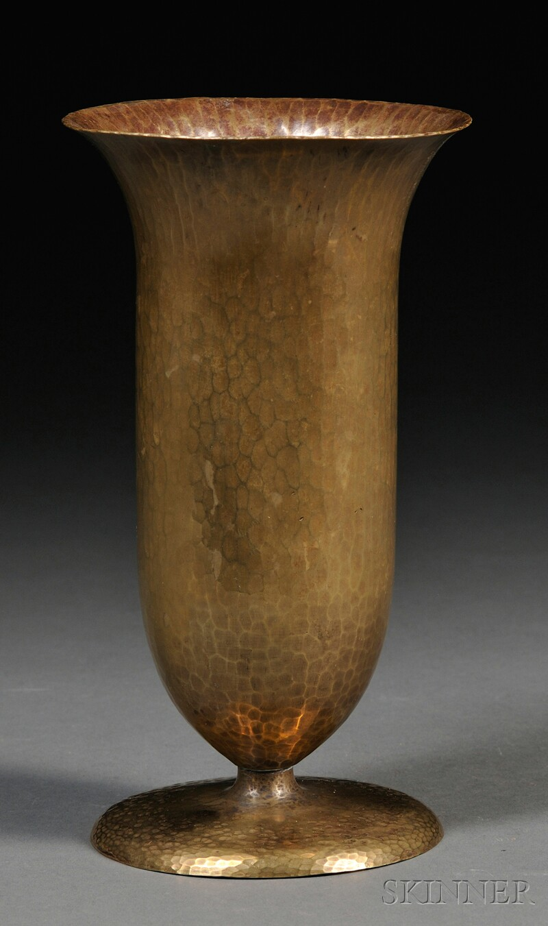 Hagenauer Hammered Brass Footed Trumpet Vase