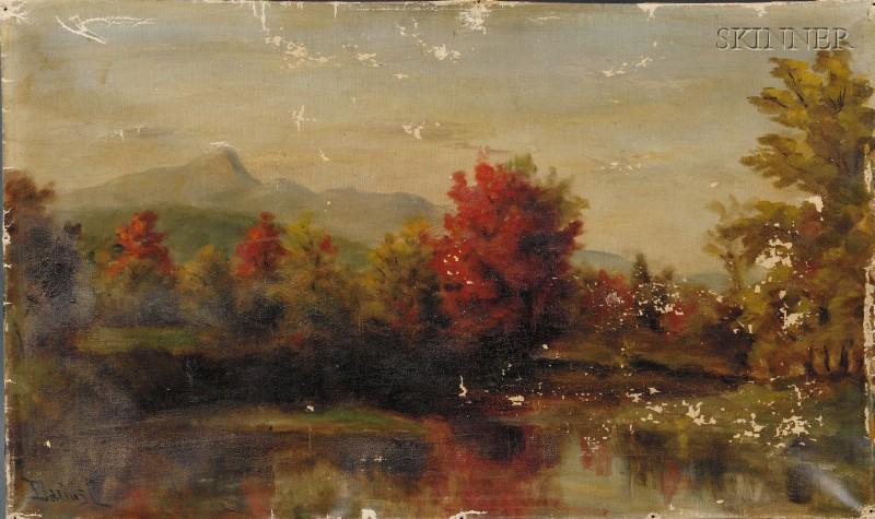Darius Cobb (American, 1834-1919)      Autumn Lake View