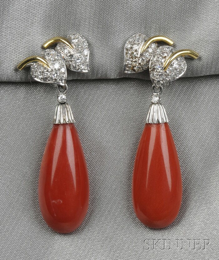 14kt White Gold, Coral, and Diamond Day/Night Earpendants