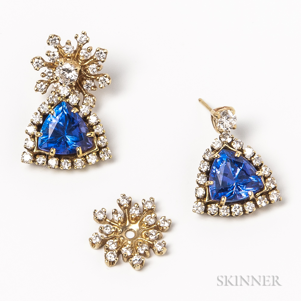 14kt Gold, Tanzanite, and Diamond Earrings and a Pair of 14kt Gold and Diamond Jackets