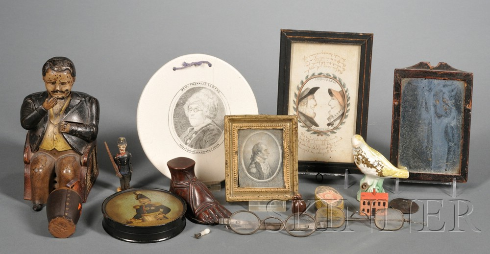 """Cast Iron """"Tammany Bank"""" and Fourteen Assorted Small Items"""