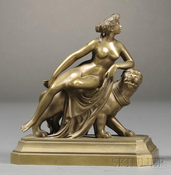 Gilt-bronze Figure of a Nude Woman atop a Leopard