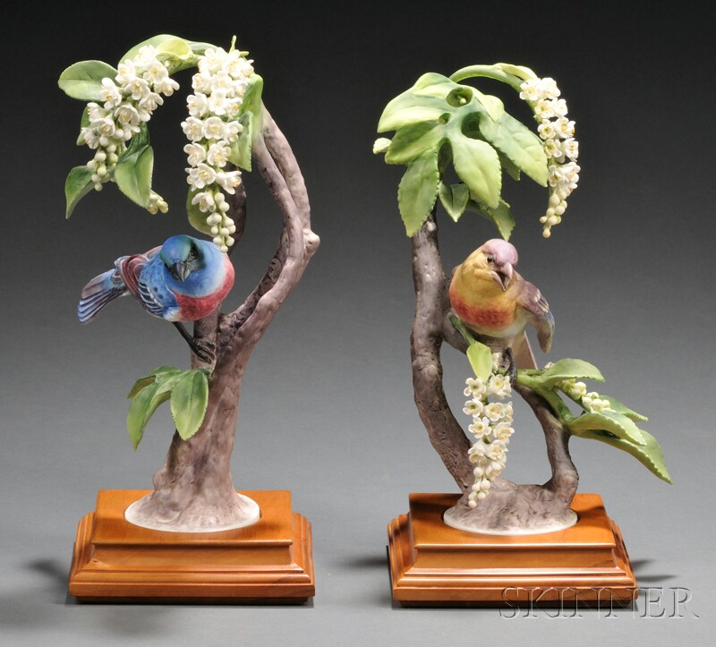 Pair of Dorothy Doughty for Royal Worcester Bone China Lazuli Bunting with Choke   Cherry