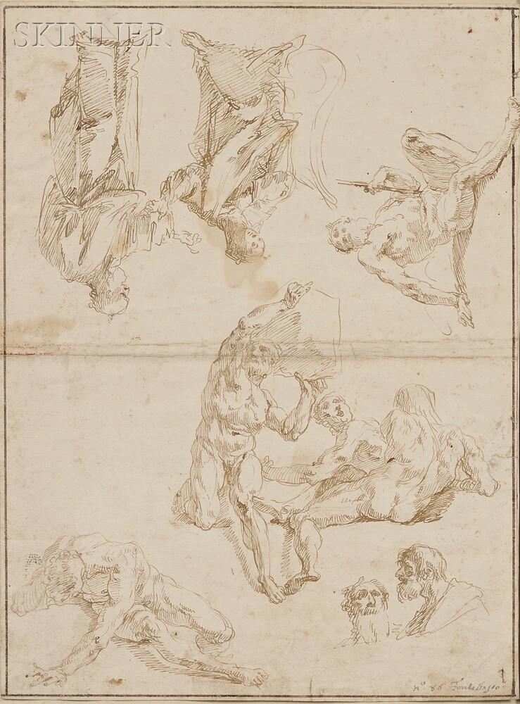 Francesco Salvator Fontebasso (Italian, 1709-1769)      Double-sided Sheet of Figure Studies