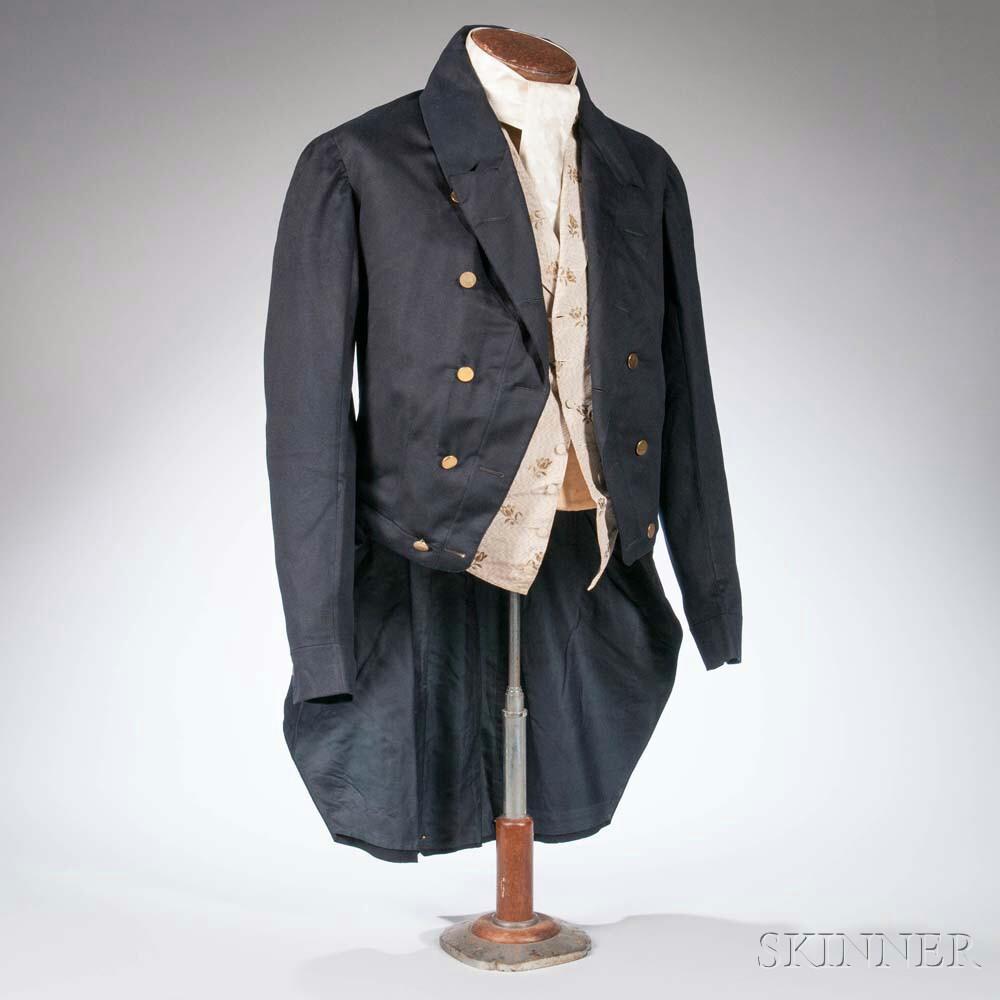 Wedding Frock Coat, Waistcoat, and Cravat Belonging to Rufus Erastus Crane