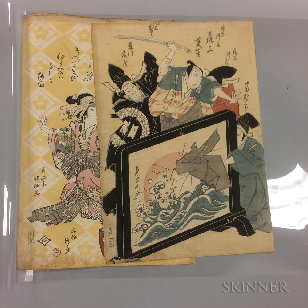 Two Color Woodblock Prints