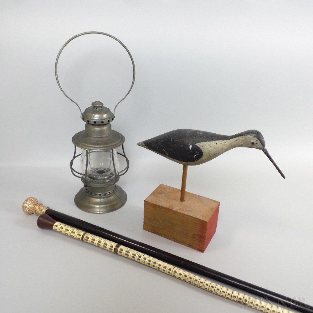 Etched Glass Lantern, a Carved and Painted Shorebird, and Two Canes.     Estimate $60-80