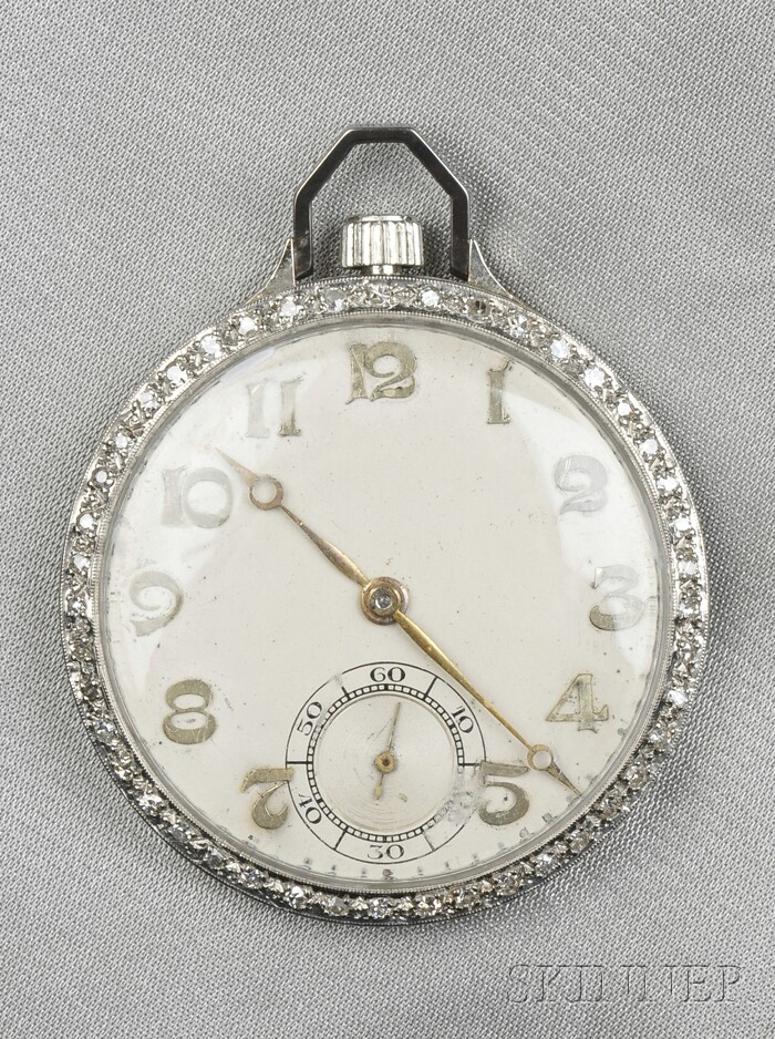 Art Deco Platinum and Diamond Open Face Pocket Watch