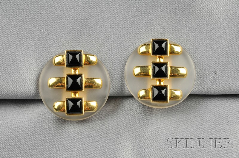 18kt Gold, Rock Crystal, and Black Onyx Earclips, Aldo Cipullo, Cartier