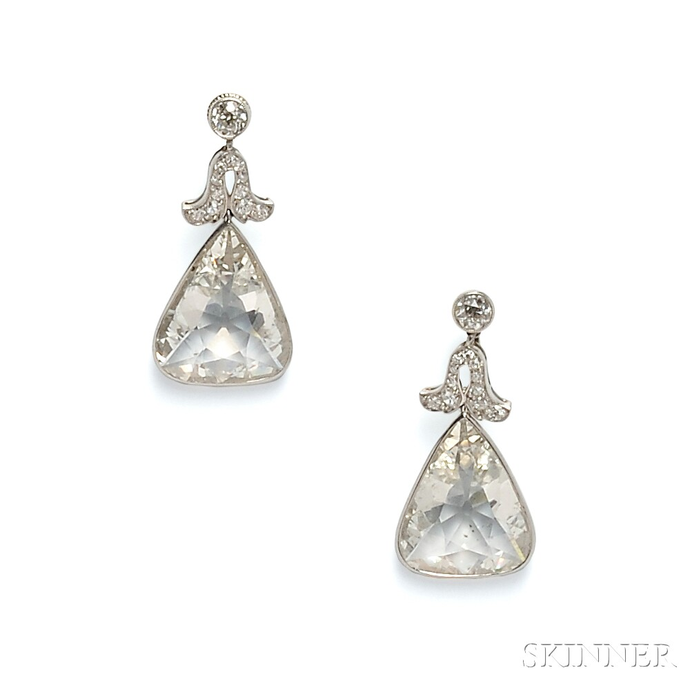 Fine Pair of Edwardian Platinum and Diamond Earpendants, Cartier