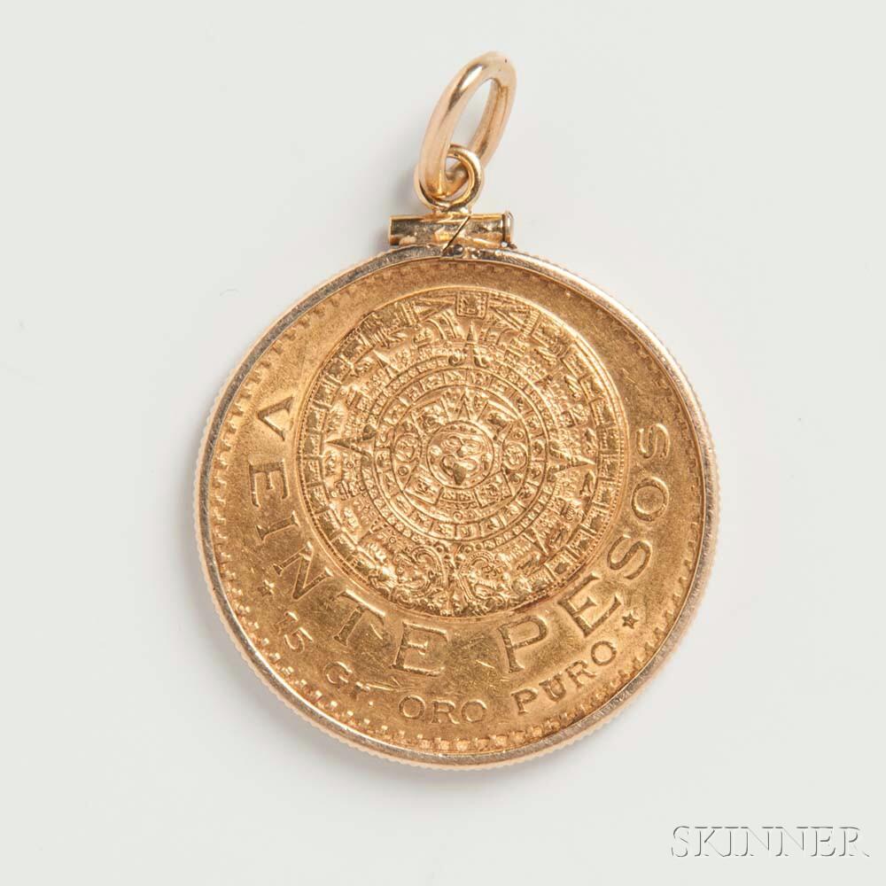 Mexican Twenty Pesos Gold Coin Mounted as a Pendant