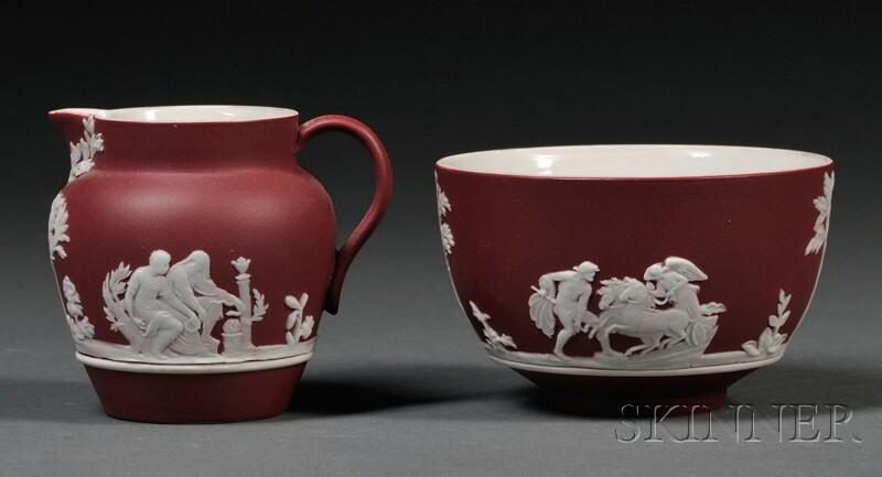 Two Wedgwood Crimson Jasper Dip Items