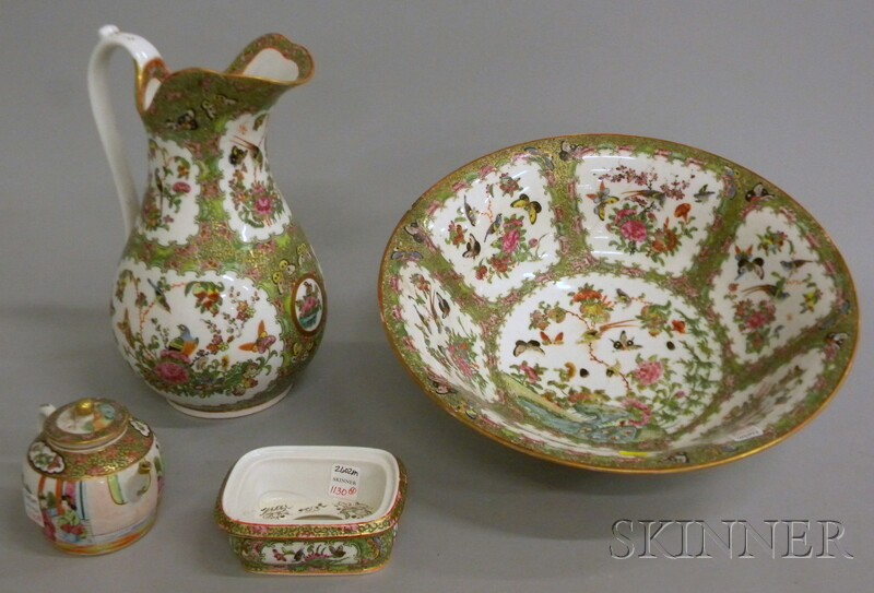 Chinese Export Rose Medallion Porcelain Pitcher, Basin, Soap Dish and Teapot