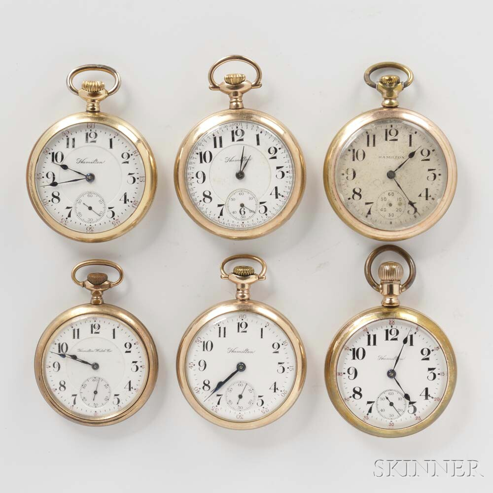Six Hamilton Gold-filled Open-face Watches