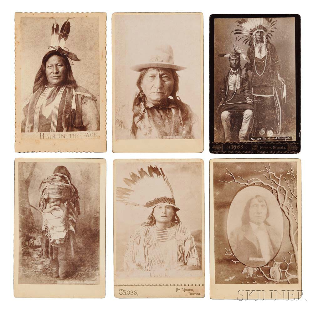 Native American Indians, Six 19th Century Cabinet Cards.