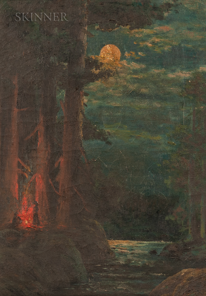 American School, 20th Century      Moonlight Scene with Campfire