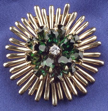 14kt Gold and Green Tourmaline Flower Clip, Tiffany & Co.
