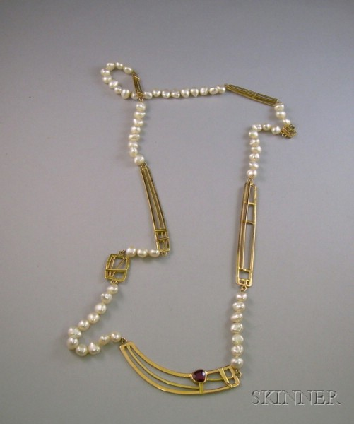 Rena Koopman 18kt Gold, Pearl, and Ruby Necklace.