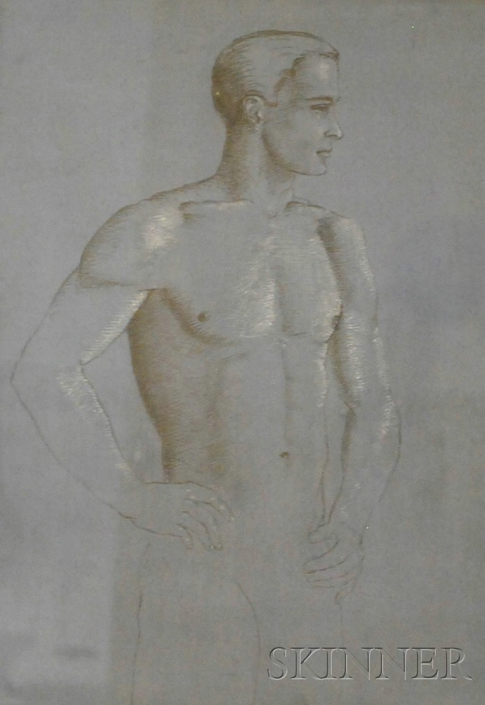 Attributed to Neil Drevitson  (American, b. 1944)      Portrait of a Standing Male Nude.