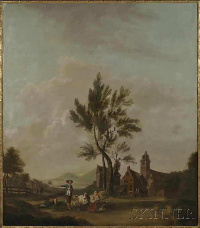 Continental School, 19th Century      Grand Pastoral Landscape with Resting Figures