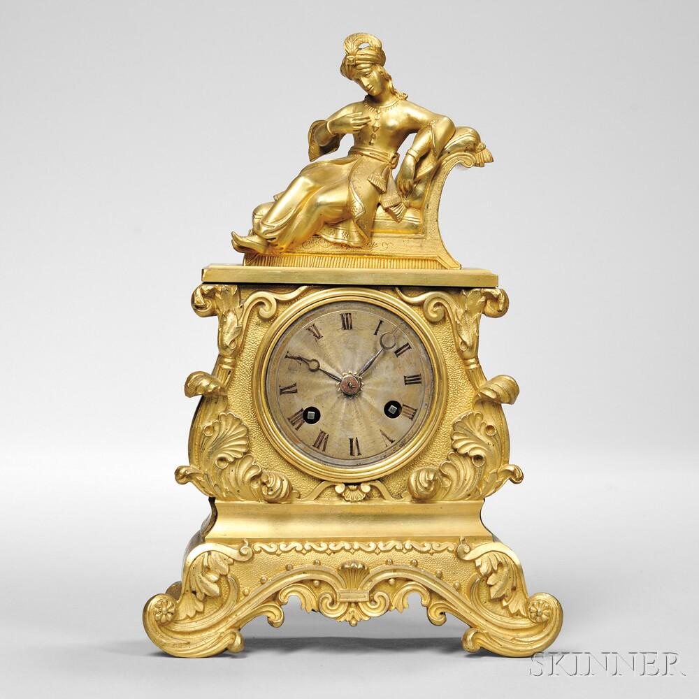 Diminutive Gilt-brass Figural Mantel Clock